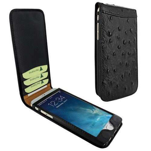 Piel Frama 766 Black Ostrich Classic Magnetic Leather Case for Apple iPhone 7 Plus / 8 Plus