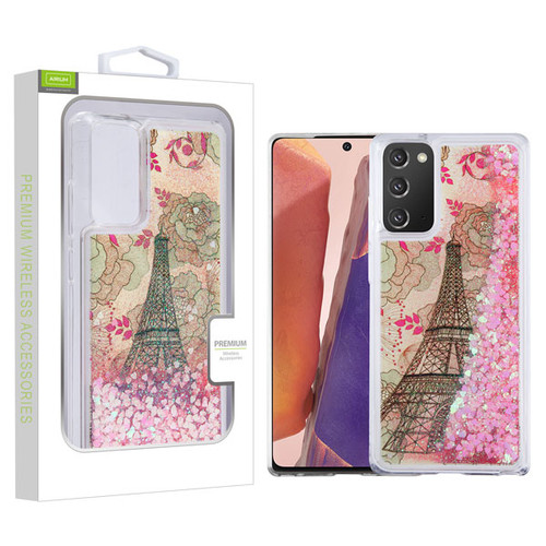 Airium Quicksand Glitter Hybrid Protector Cover for Samsung Galaxy Note 20 - Eiffel Tower & Pink Hearts