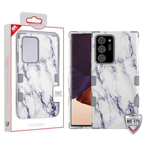 MyBat TUFF Hybrid Protector Cover [Military-Grade Certified] for Samsung Galaxy Note 20 Ultra - White Marbling / Iron Gray
