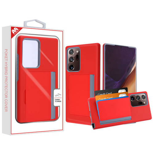 MyBat Poket Hybrid Protector Cover (with Back Film) for Samsung Galaxy Note 20 Ultra - Red / Gray