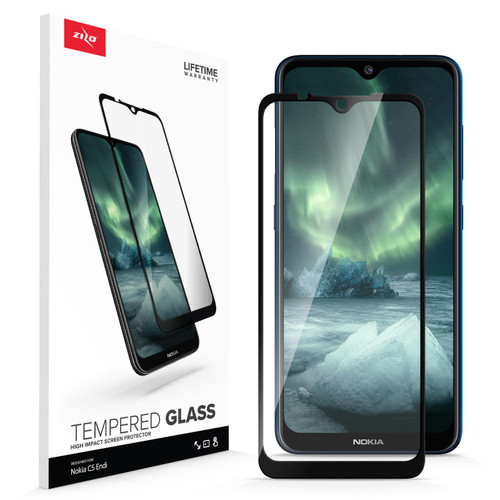 ZIZO TEMPERED GLASS Screen Protector for Nokia C5 Endi Full Glue Clear Screen Protector with Anti Scratch and 9H Hardness - Black GLSHD-NOKC5-BLK