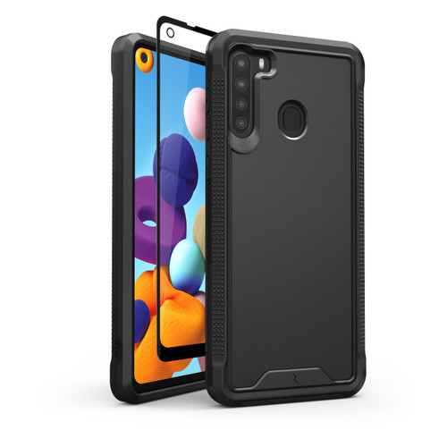 ZIZO ION Series for Samsung Galaxy A21 Case - Military Grade Drop Tested with Tempered Glass Screen Protector - Black IONC-SAMGA21-BKBK