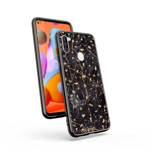 ZIZO REFINE Series Samsung Galaxy A11 Case - Thin Glitter Design - Black Marble RFE-SAMGA11-BKMR