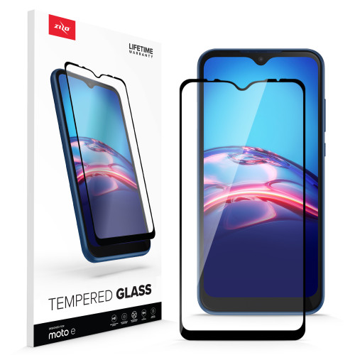 ZIZO TEMPERED GLASS Screen Protector for Moto E (2020) Full Glue Clear Screen Protector with Anti Scratch and 9H Hardness - Black GLSHD-MOTE2020-BLK