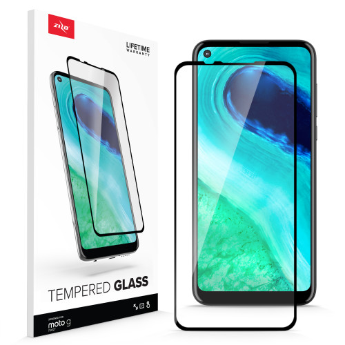 ZIZO TEMPERED GLASS Screen Protector for Moto G Fast Full Glue Clear Screen Protector with Anti Scratch and 9H Hardness - Black GLSHD-MOTGFAST-BLK