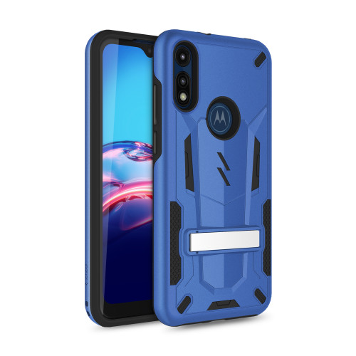 ZIZO TRANSFORM Series for Moto E (2020) Case - Rugged Dual-layer Protection with Kickstand - Blue TFM-MOTE2020-BLBK