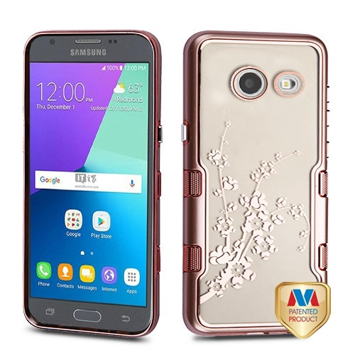 MyBat TUFF Panoview Hybrid Protector Cover for Samsung J327P (J3 2017) - Metallic Rose Gold / Electroplating Rose Gold Spring Flowers (Transparent Clear)