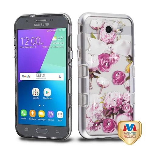 MyBat TUFF Panoview Hybrid Protector Cover for Samsung J327P (J3 2017) - Metallic Silver / Roses Diamante