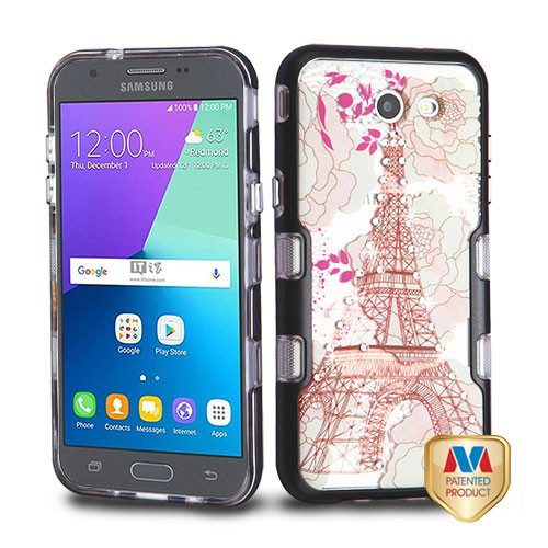 MyBat TUFF Panoview Hybrid Protector Cover for Samsung J327P (J3 2017) - Metallic Black / Eiffel Tower Diamante