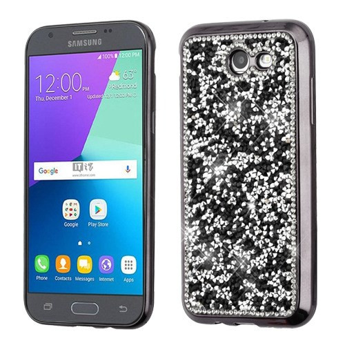 MyBat Candy Skin Cover (with Electroplated Black Frame)(with Package) for Samsung Galaxy J3 Luna Pro - Black Mini Crystals Rhinestones Desire