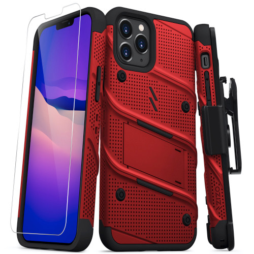 ZIZO BOLT Series for iPhone 12 / iPhone 12 Pro Case with Screen Protector Kickstand Holster Lanyard - Red & Black BOLT-IPH1261-RDBK