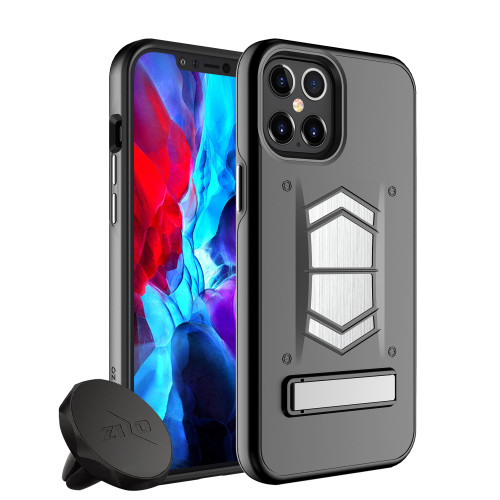ZIZO ELECTRO Series iPhone 12 / iPhone 12 Pro Case - Kickstand  Screen Protector and Air Vent Mount - Black ELC-IPH1261-BKBK