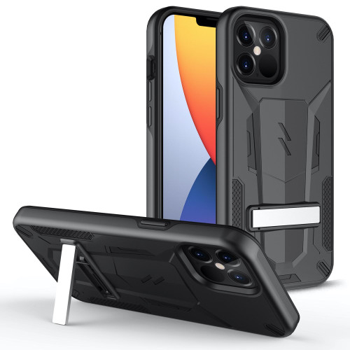 ZIZO TRANSFORM Series for iPhone 12 / iPhone 12 Pro Case - Rugged Dual-layer Protection with Kickstand - Black TFM-IPH1261-BKBK