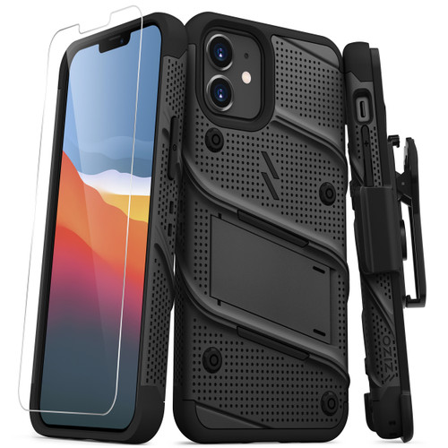 ZIZO BOLT Series for iPhone 12 Mini Case with Screen Protector Kickstand Holster Lanyard - Black BOLT-IPH1254-BKBK