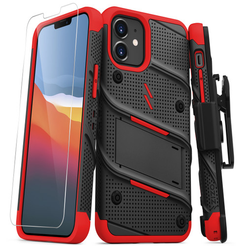 ZIZO BOLT Series for iPhone 12 Mini Case with Screen Protector Kickstand Holster Lanyard - Black & Red BOLT-IPH1254-BKRD