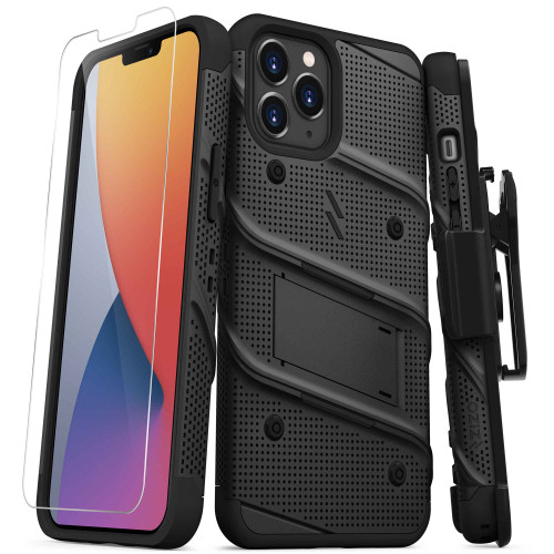 ZIZO BOLT Series for iPhone 12 Pro Max Case with Screen Protector Kickstand Holster Lanyard - Black BOLT-IPH1267-BKBK