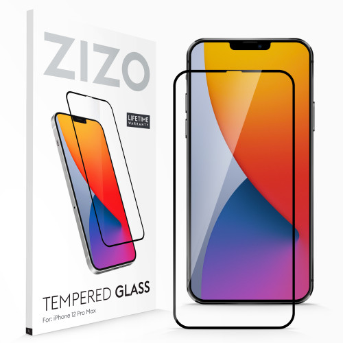 ZIZO TEMPERED GLASS Screen Protector for iPhone 12 Pro Max Full Glue Clear Screen Protector with Anti Scratch and 9H Hardness - Black GLSHD-IPH1267-BLK