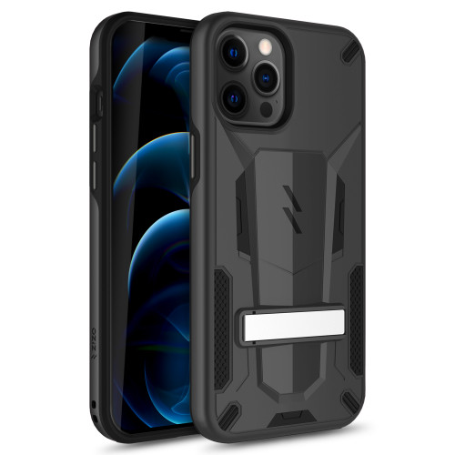 ZIZO TRANSFORM Series for iPhone 12 Pro Max Case - Rugged Dual-layer Protection with Kickstand - Black TFM-IPH1267-BKBK