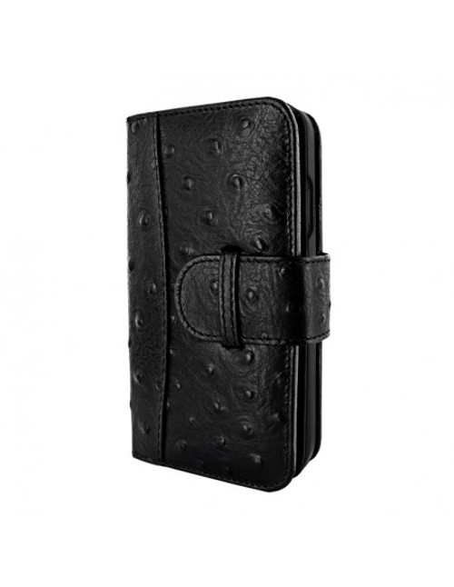 Piel Frama 854 Black Ostrich WalletMagnum Leather Case for Apple iPhone 12 / iPhone 12 Pro