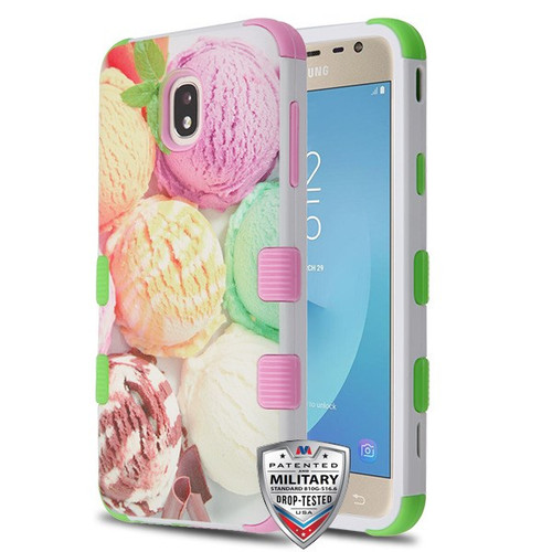 MyBat TUFF Hybrid Protector Cover [Military-Grade Certified] for Samsung J737P (Galaxy J7 (2018)) - Ice Cream Scoops / Electric Green & Soft Pink