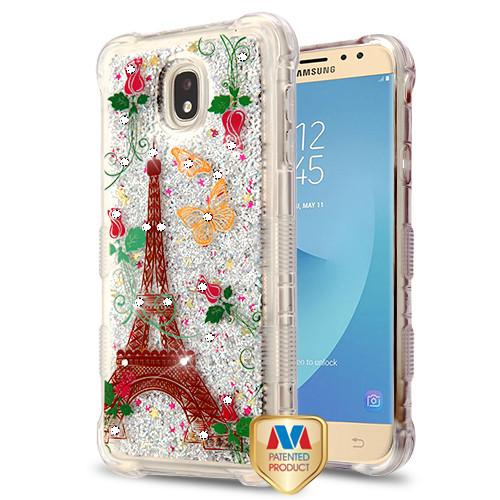 MyBat TUFF Quicksand Glitter Lite Hybrid Protector Cover (with Diamonds) for Samsung J737P (Galaxy J7 (2018)) - Paris Monarch Butterflies / Silver Flowing Sparkles