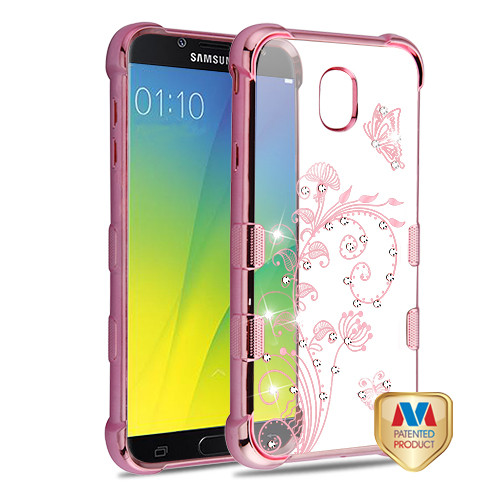 MyBat TUFF Klarity Candy Skin Cover (with Package) for Samsung Galaxy J7 V 2nd Gen - Rose Gold Plating & Lily of Valley Diamante