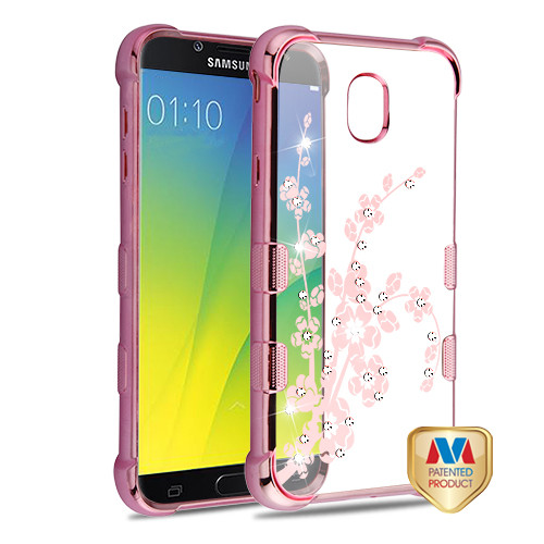 MyBat TUFF Klarity Candy Skin Cover (with Package) for Samsung Galaxy J7 V 2nd Gen - Rose Gold Plating & Spring Flowers Diamante