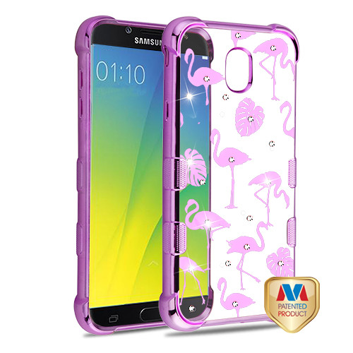 MyBat TUFF Klarity Candy Skin Cover (with Package) for Samsung Galaxy J7 V 2nd Gen - Purple Plating & Flamingo Land Diamante