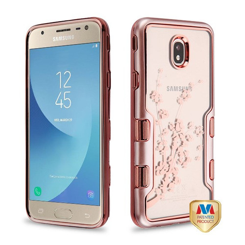 MyBat TUFF Panoview Hybrid Protector Cover for Samsung J737P (Galaxy J7 (2018)) - Metallic Rose Gold / Electroplating Rose Gold Spring Flowers (Transparent Clear)