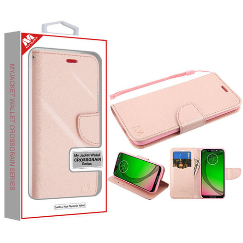 MyBat Liner MyJacket Wallet Crossgrain Series for Motorola Moto G7 Play - Rose Gold Pattern / Rose Gold