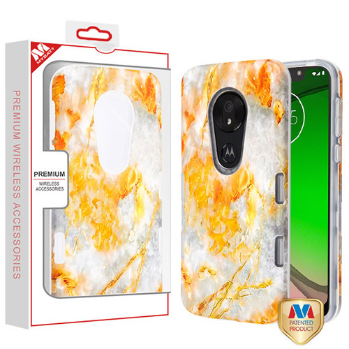 MyBat TUFF Subs Hybrid Case for Motorola Moto G7 Play - Nuvolato Etrusco Marble / Transparent Clear