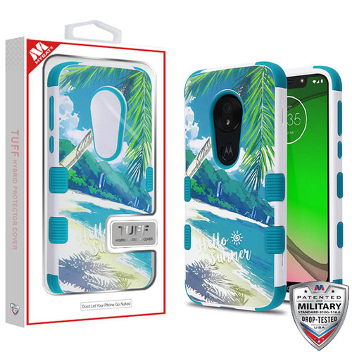 MyBat TUFF Hybrid Protector Cover [Military-Grade Certified] for Motorola Moto G7 Play - Palm Beach / Tropical Teal