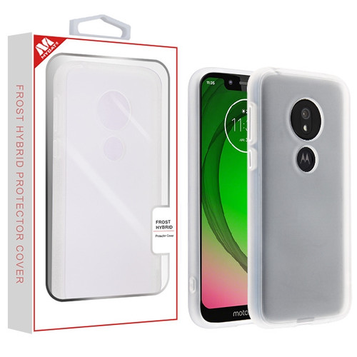 MyBat Frost Hybrid Protector Cover for Motorola Moto G7 Play - Semi Transparent White Frosted / Rubberized Semi Transparent White