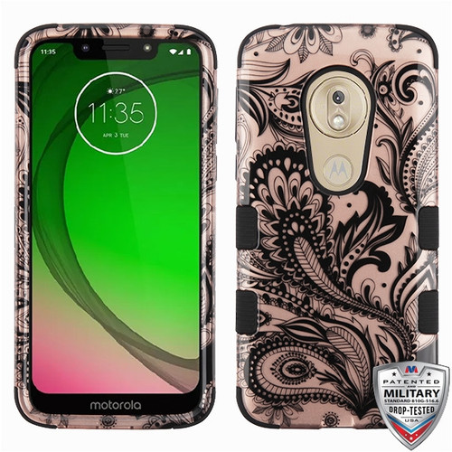 MyBat TUFF Hybrid Protector Cover [Military-Grade Certified] for Motorola Moto G7 Play - Phoenix Flower (2D Rose Gold) / Black