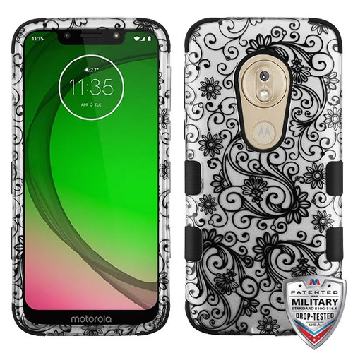 MyBat TUFF Hybrid Protector Cover [Military-Grade Certified] for Motorola Moto G7 Play - Black Four-Leaf Clover (2D Silver) / Black