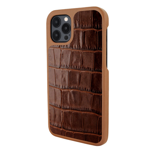 Piel Frama 856 Brown Crocodile LuxInlay Leather Case for Apple iPhone 12 Pro Max