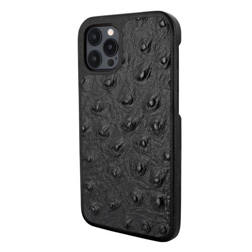 Piel Frama 856 Black Ostrich LuxInlay Leather Case for Apple iPhone 12 Pro Max