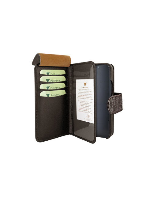Piel Frama 859 Brown Lizard WalletMagnum Leather Case for Apple iPhone 12 Pro Max