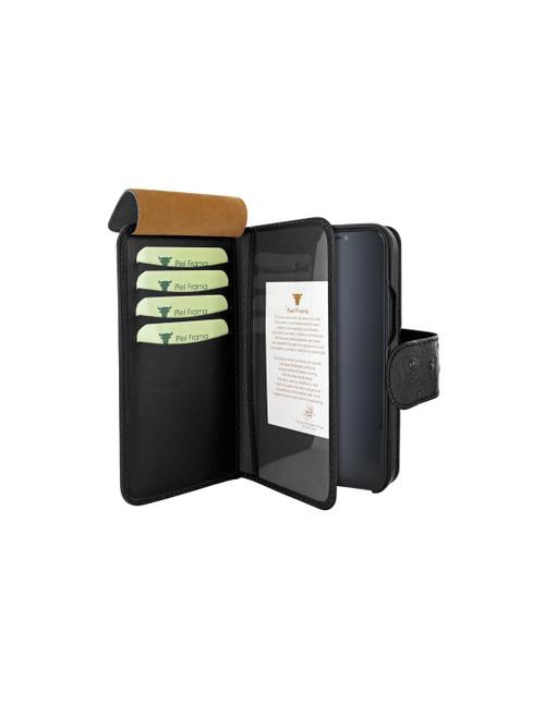 Piel Frama 859 Black Ostrich WalletMagnum Leather Case for Apple iPhone 12 Pro Max