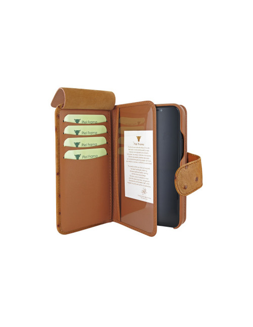 Piel Frama 859 Tan Ostrich WalletMagnum Leather Case for Apple iPhone 12 Pro Max