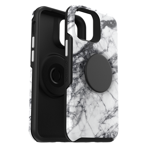 Otterbox - Otter Pop Symmetry Case With Popsockets Swappable Popgrip for Apple iPhone 12 Mini - White Marble