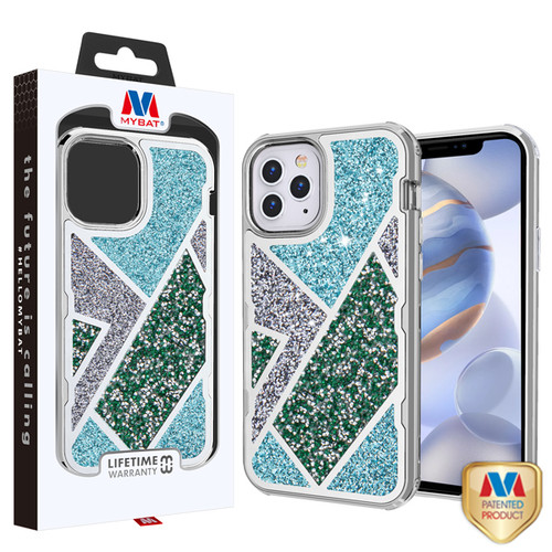 MyBat TUFF Kleer Hybrid Case for Apple iPhone 12 (6.1) - Electroplated Silver / Transparent Clear Mini Crystals & Glitter