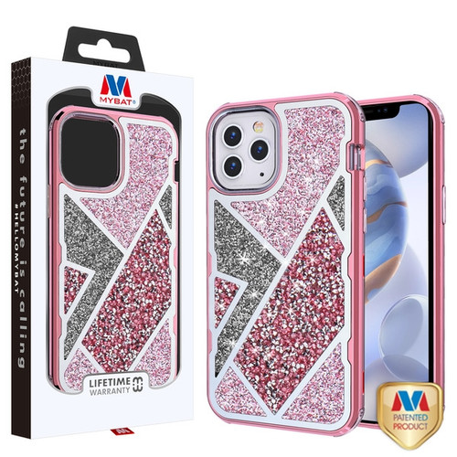 MyBat TUFF Kleer Hybrid Case for Apple iPhone 12 (6.1) - Electroplated Rose Gold / Transparent Clear Mini Crystals & Glitter