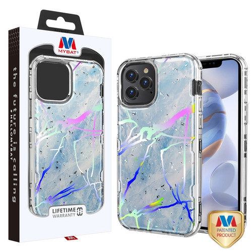 MyBat TUFF Kleer Hybrid Case for Apple iPhone 12 (6.1) - Blue Marbling / Electroplating Silver
