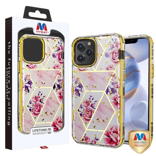 MyBat TUFF Kleer Hybrid Case for Apple iPhone 12 (6.1) - Electroplated Roses Marble / Electroplating Gold