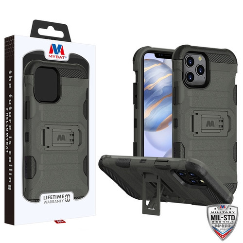 MyBat Storm Tank Hybrid Protector Case [Military-Grade Certified] for Apple iPhone 12 (6.1) - Dark Grey / Black