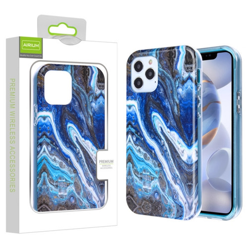 Airium Frame Hybrid Case for Apple iPhone 12 (6.1) - Blue Stone Marbling Blue