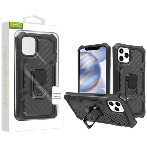 Airium Hybrid Case (with Ring Stand) for Apple iPhone 12 (6.1) - Black / Black