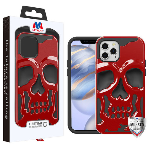 MyBat Skullcap Hybrid Protector Cover for Apple iPhone 12 (6.1) - Solid Red / Black