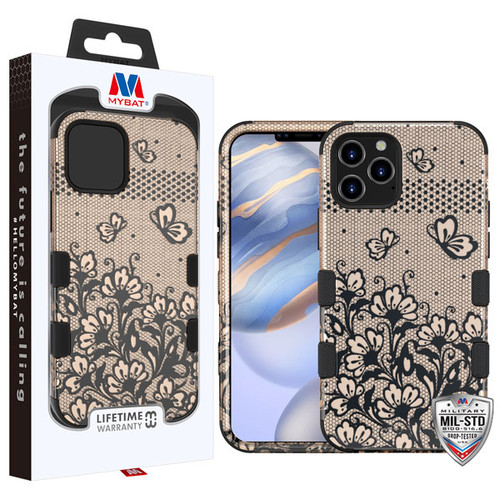 MyBat TUFF Hybrid Protector Cover [Military-Grade Certified] for Apple iPhone 12 (6.1) - Black Lace Flowers (2D Rose Gold) / Black